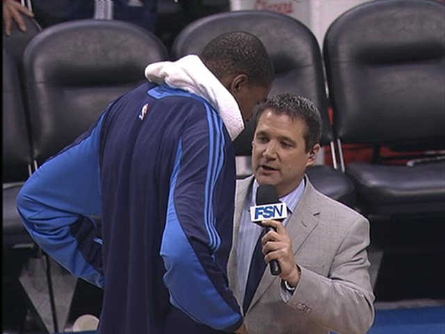 Brent Weber interviews Kevin Durant after a Thunder victory in 2009.